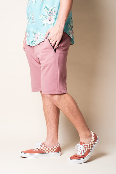 Men's Dark Pink Knit Jogger Shorts | Brooklyn Cloth