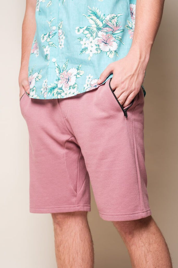 Men's Dark Pink Knit Jogger Shorts