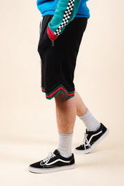 Black Striped French Terry Basketball Shorts
