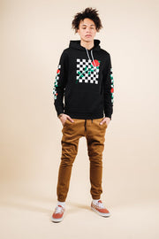 Brooklyn Cloth Black Rose Checkered Hoodie for Men