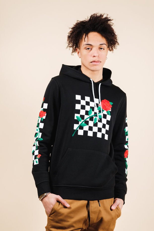 Men's Black Rose Checkered Hoodie