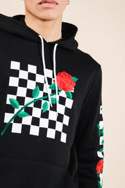 Black Rose Checkered Hoodie for Men