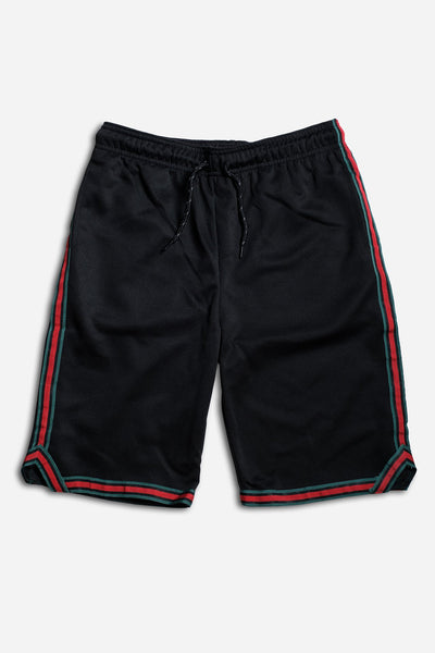 Boys Poly Pique Stripe Shorts in Black