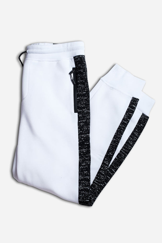 Boys White Printed Space Dye Striped Jogger Pants