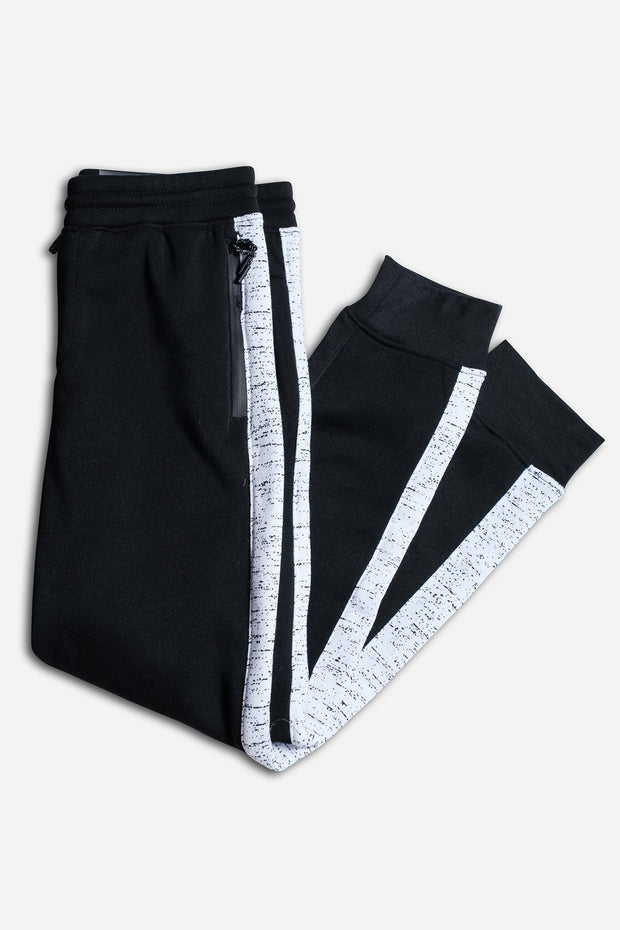 Boys Black Printed Space Dye Jogger Pants