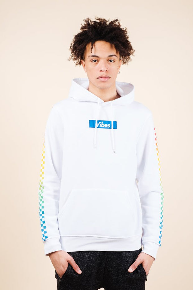 White Vibes Checkered Hoodie