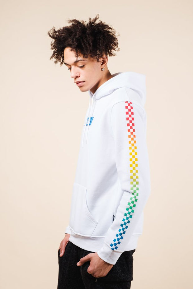 Men's White Vibes Checkered Hoodie
