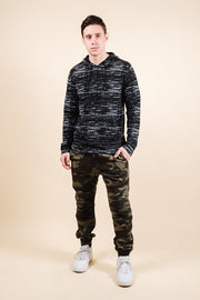 Brooklyn Cloth Black Streaky Jersey Hoodie for Men