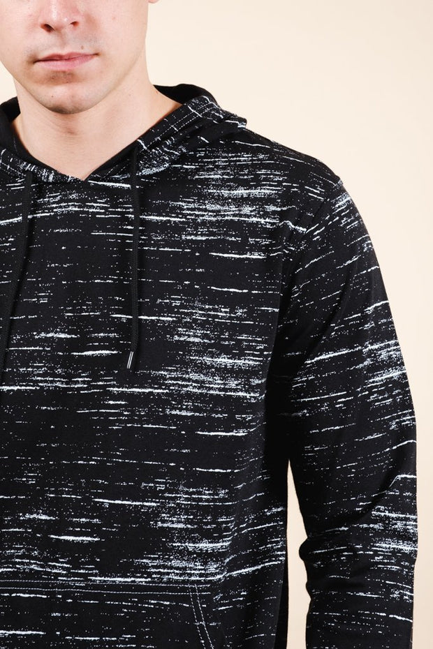 Black Streaky Jersey Hoodie for Men