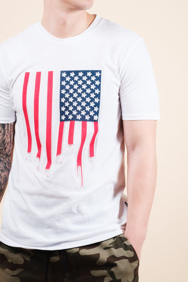 American Flag Dripping Tee for Men