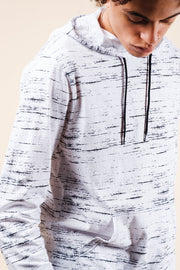 White Streaky Jersey Hoodie for Men