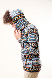Green Beam Stripe Cozy Fleece Hoodie