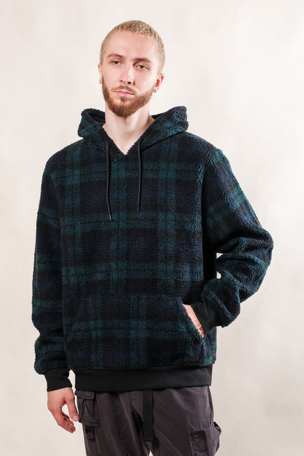 Green Blackwatch Plaid Sherpa Hoodie