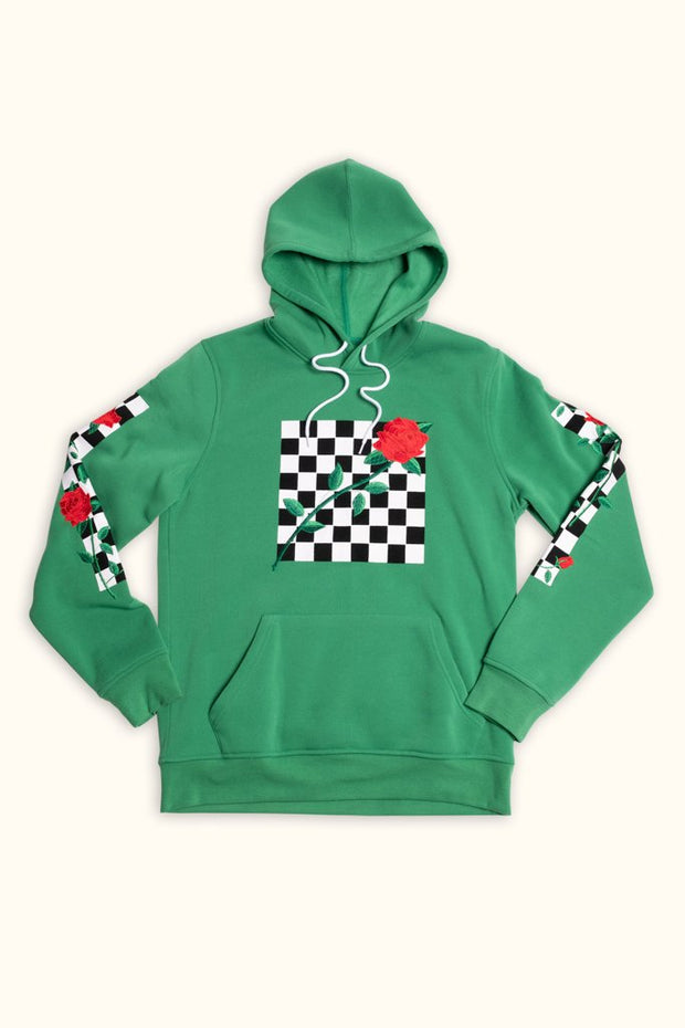 Mens Green Chekcer Rose Pullover Hoodie Brooklyn Cloth