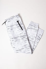 Boys White Streaky Fleece Jogger Pants