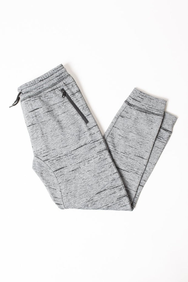 Boys Black Marl Streaky Fleece Jogger Pants