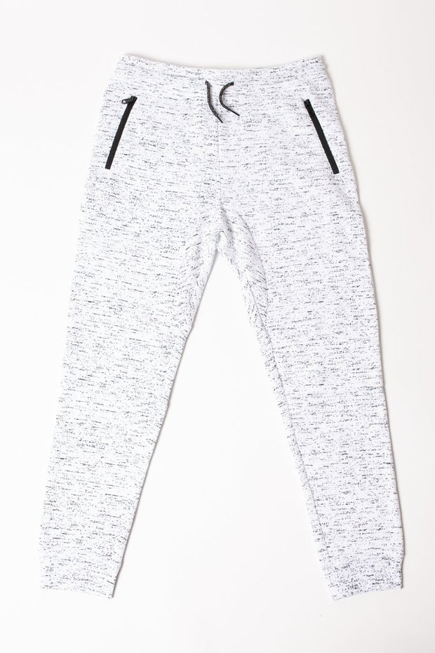 Boys White Printed Space Dye Jogger Pants