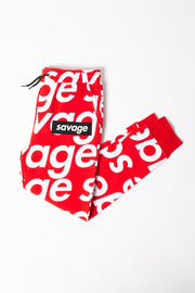 Boys Red Savage Jogger Pants