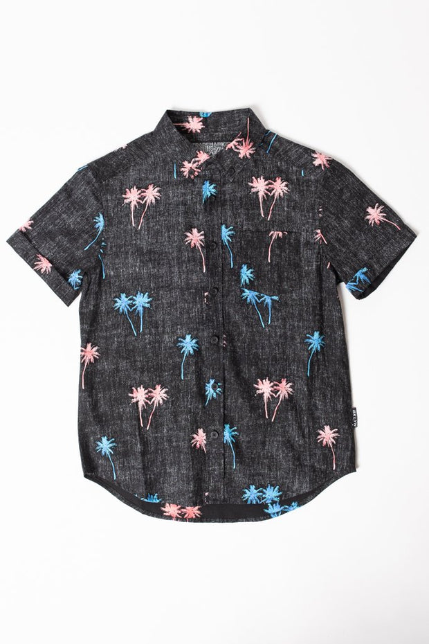 Boys Black Palm Tree Woven Shirt