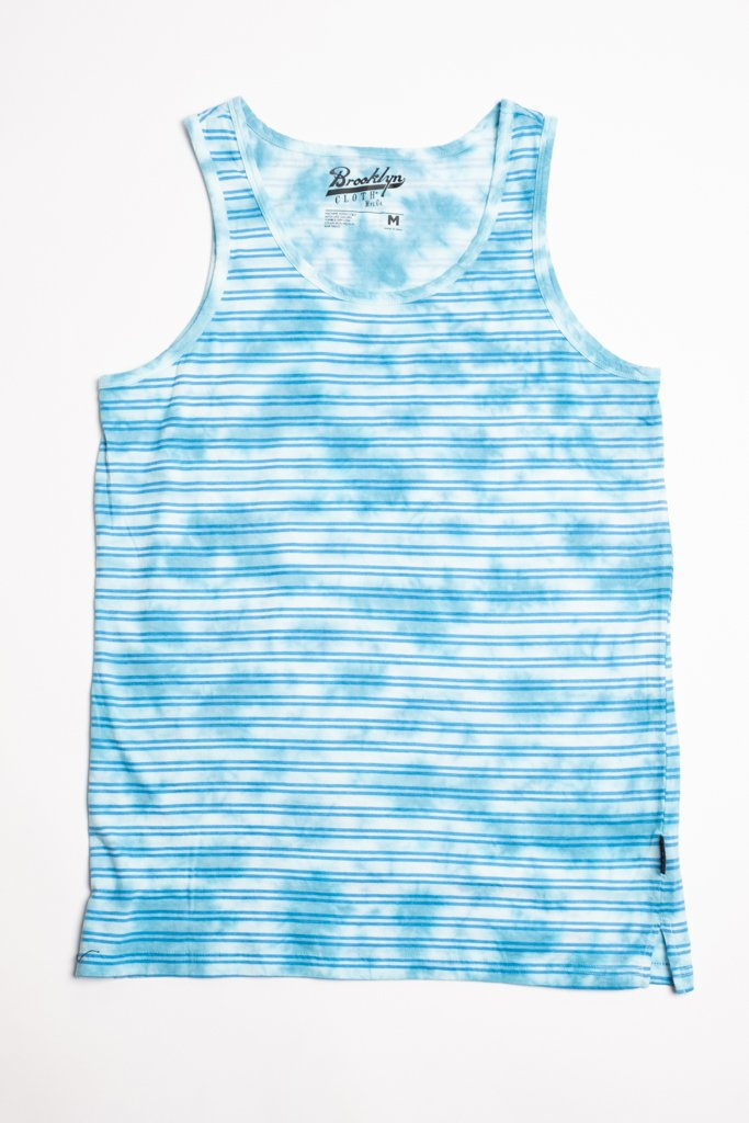 Light Blue Tie Dye Striped Tank Top