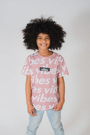 Boy's Dusty Rose Positive Vibes Crosswalk Tee