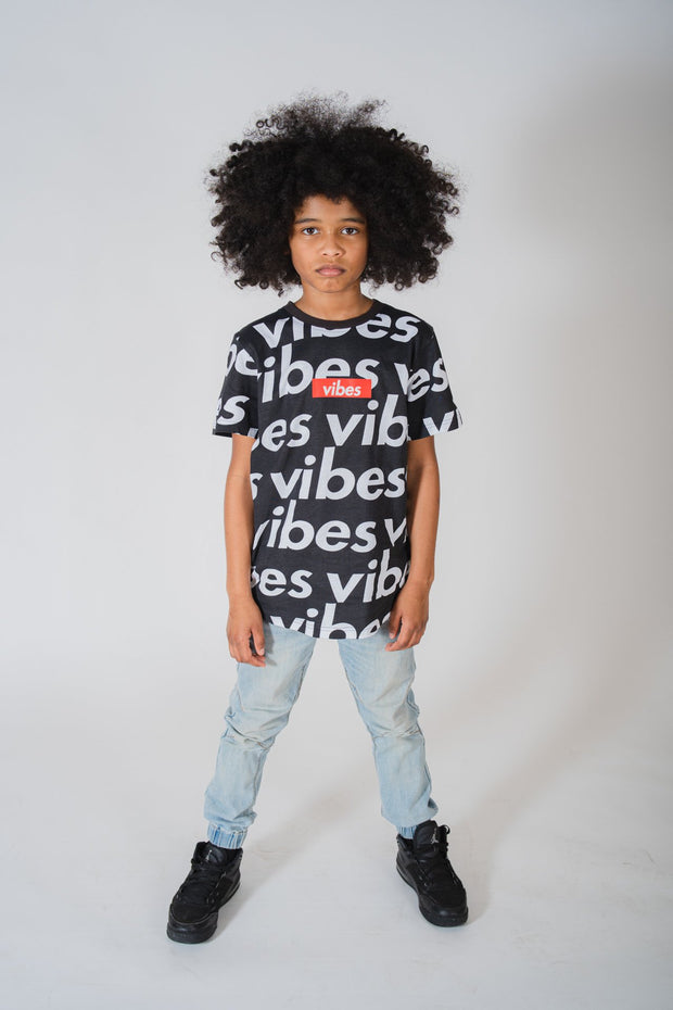 Boy's Black Positive Vibes Crosswalk Tee