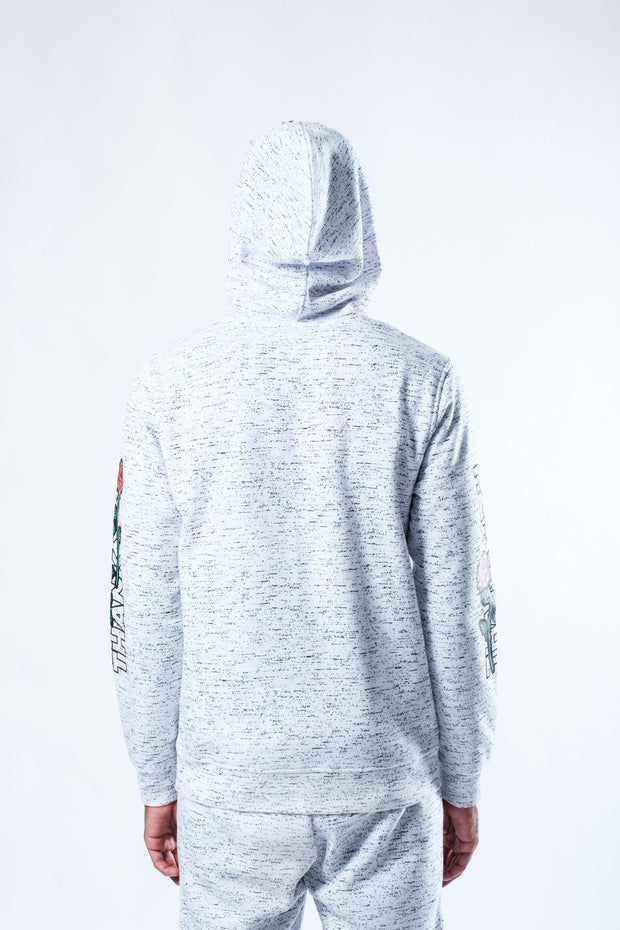 White Space Dye Print Thank You Rose Hoodie