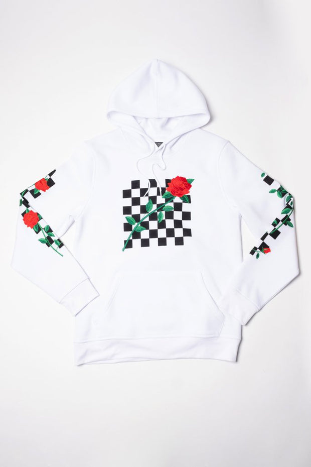 Mens Brooklyn Cloth White Rose Checkered Hoodie