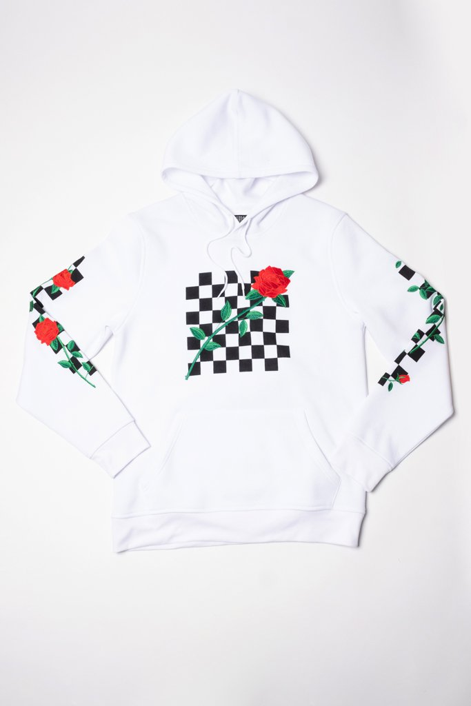 White Rose Checkered Hoodie