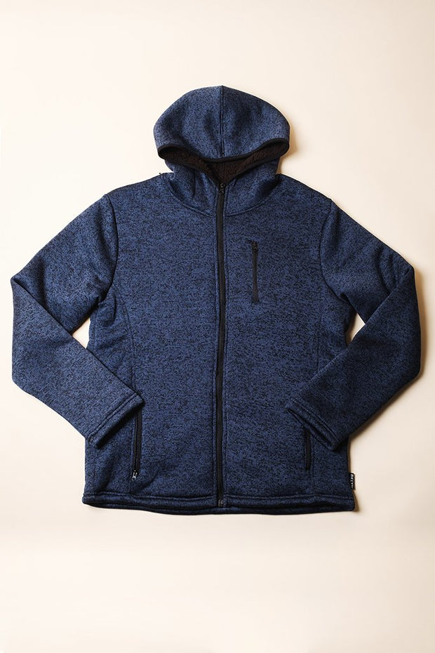 Ocean Sherpa Lined Cozy Knit Hoodie for men