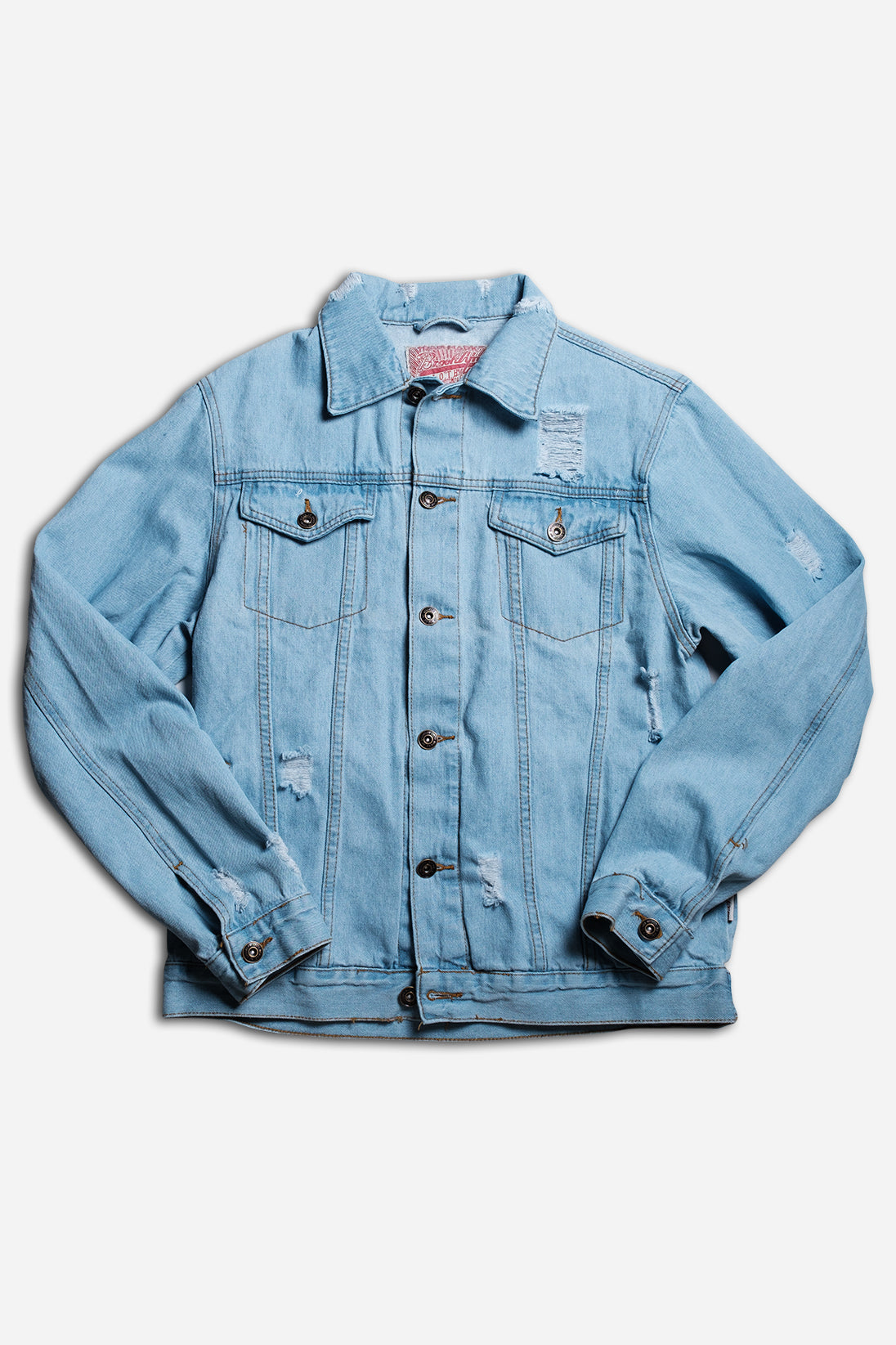 LIGHT WASH DISTRESSED DENIM JACKET by Brooklyn Cloth