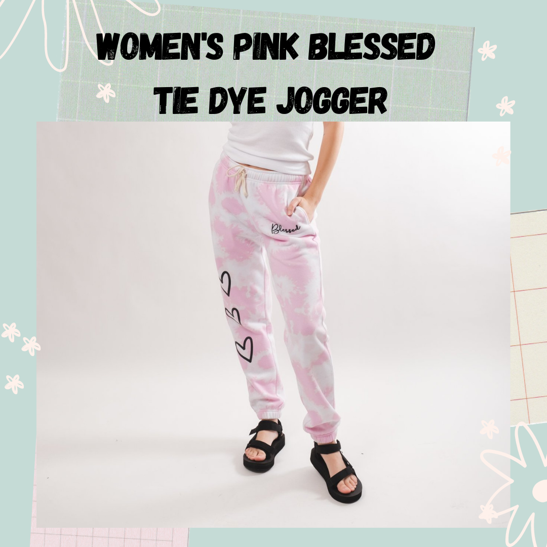 Women's Pink Blessed Tie Dye Jogger