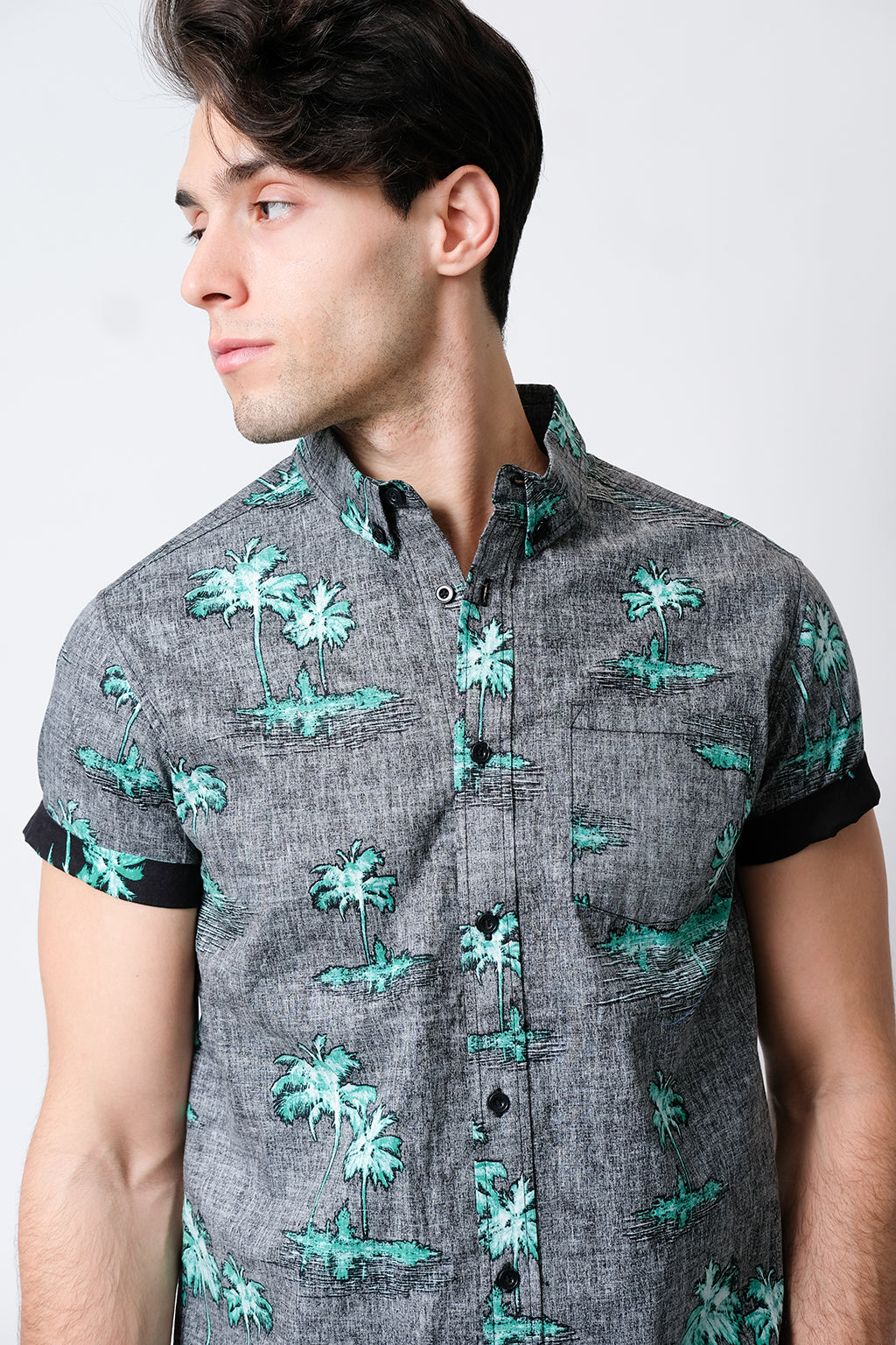 BLACK PALM TREE WOVEN SHIRT by Brooklyn Cloth