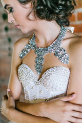 'Edie' Rhinestone Encrusted Bib Necklace
