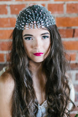 'Harlowe' Crystal Art Deco Cap Headdress