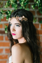 'Niah' Gold leaf and Crystal Flower Bridal Halo