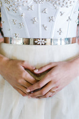 'Nina' Gold Plated & White Rhinestone Art Deco Belt
