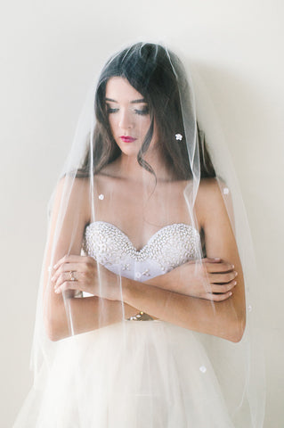 'Poppy' Flower Dotted Tulle Veil