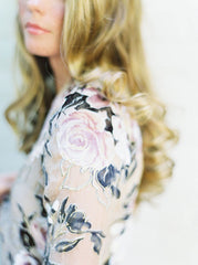 Luxurious Rose Wrap Gown