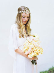'Iris' Bohemian White & Gold Rhinestone Headpiece