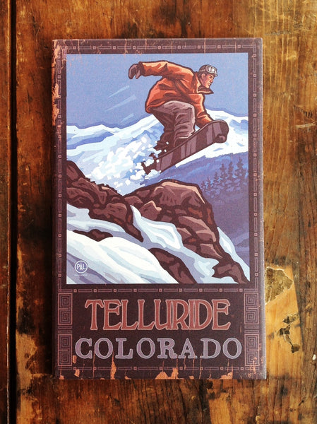 Snowboarder in Flight Vintage Sign