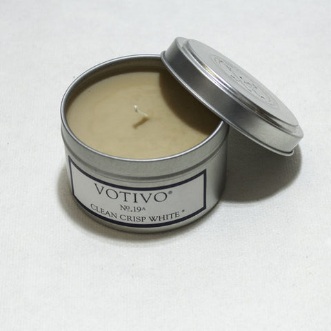 Votivo Tin Candle. Travel Tin with lid.