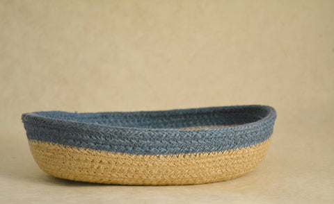 Blue Jute Oval Fruit Basket