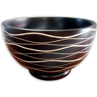 Large Ribbed Mango Wood Bowl