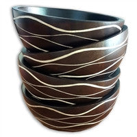 Ribbed Mango Wood Bowl