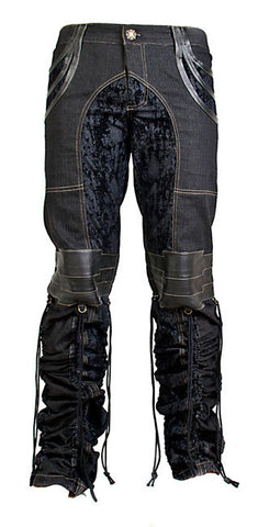 A.D. Now Stretch Denim and Leather Rocker Pants/Jeans