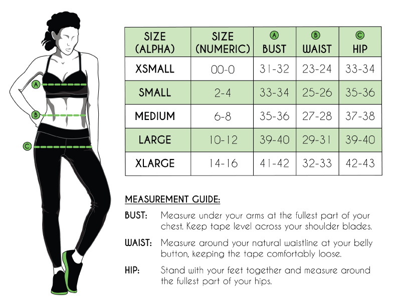 size chart/ fitting guide, measurement chart green apple active