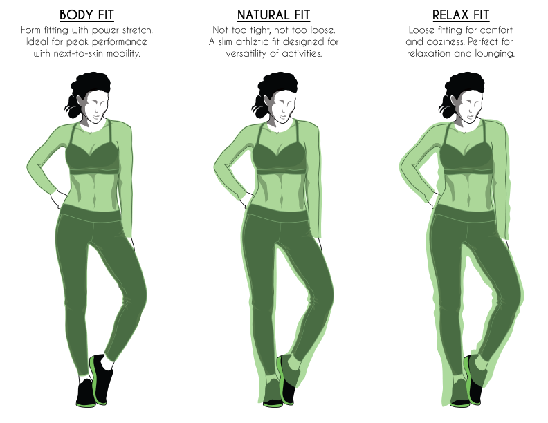 body fit, natural fit, relaxed fit sizing chart fitting guide