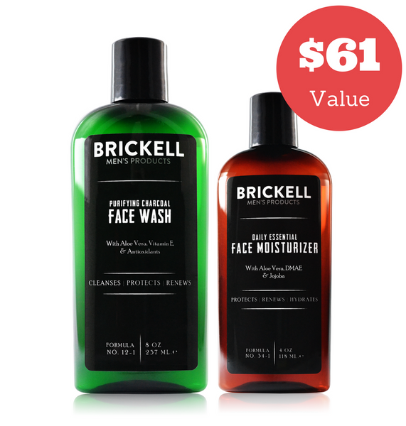 Dapper & Done  | Brickell Men's Daily Essential Face Care Routine II Bundle  - 1