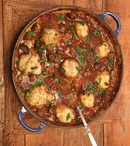 Guinness Beef Stew With Irish Cheddar Herb Dumplings